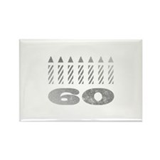 60th Birthday Candles Rectangle Magnet