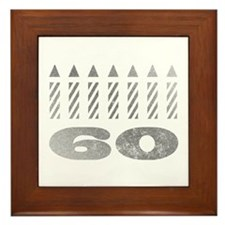 60th Birthday Candles Framed Tile