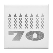 70th Birthday Candles Tile Coaster