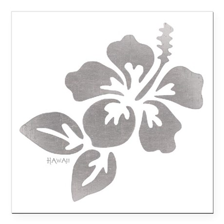 "Hawaiian Flower Square Car Magnet 3"" x 3"""