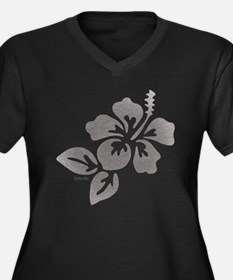 Hawaiian Flower Women's Plus Size V-Neck Dark T-Sh