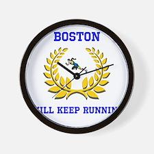 Boston Strong Keep Running Wall Clock