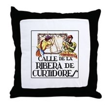 Calle Ribera de Curtidores, Madrid Throw Pillow