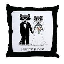 Raccoons Wedding Throw Pillow