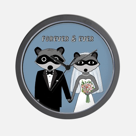 Raccoons Wedding Wall Clock