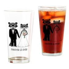 Raccoons Wedding Drinking Glass