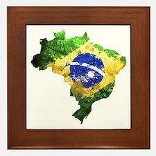 Brazil Flag Graffiti Framed Tile