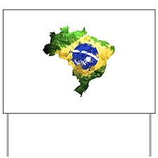 Brazil Flag Graffiti Yard Sign