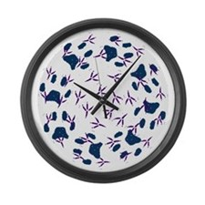 Cat Bird Tracks Large Wall Clock