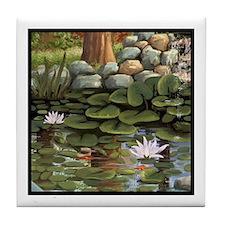 Fish Among the Lilies Tile Coaster