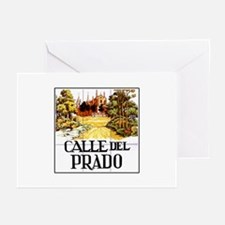 Calle del Prado, Madrid - Spain Greeting Cards (Pk