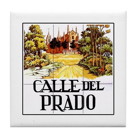 Calle del prado madrid spain tile coaster by worldofsigns for Calle prado jerez madrid