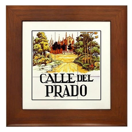 Calle del prado madrid spain framed tile by worldofsigns for Calle del prado 9 madrid espana