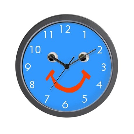 Cool Blue Smiley Face Wall Clock By Artplaygifts