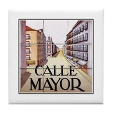 Calle Mayor, Madrid - Spain Tile Coaster