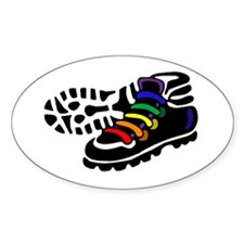 Rainbow Hiking Oval Decal