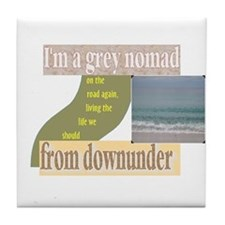 grey nomad on the road again Tile Coaster