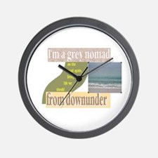 grey nomad on the road again Wall Clock