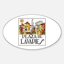 Plaza de Lavapiés, Madrid - Spain Oval Decal
