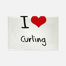 I love Curling Rectangle Magnet