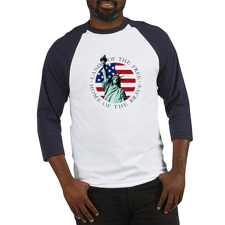 Liberty & American flag Baseball Tee