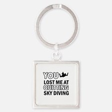 Quirky Sky Diving designs Square Keychain