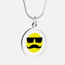 Cool smiley Silver Round Necklace