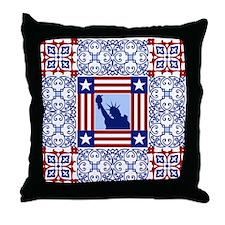 Patriotic Quilt Shirt Throw Pillow