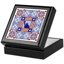 Patriotic Quilt Keepsake Box (ceramic top)