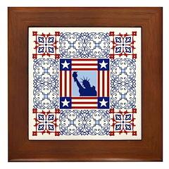 Patriotic Quilt Framed Ceramic Tile