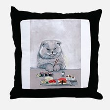 Sushi Cat- The Grump Throw Pillow