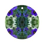 Blue Flower Reflection Ornament (Round)
