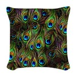 Peacock Feathers Invasion Woven Throw Pillow