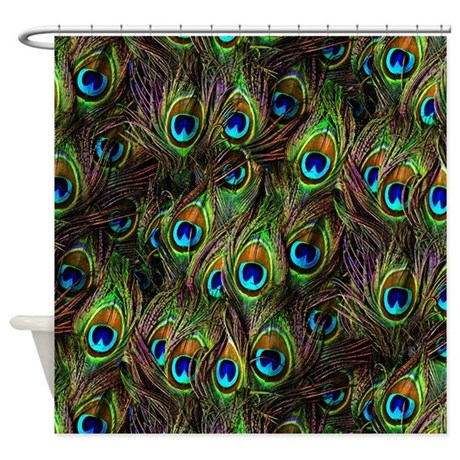 Peacock Feathers Invasion Shower Curtain