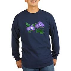 Blue Climbing Roses Long Sleeve Dark T-Shirt