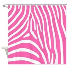 Hot Pink and White Zebra Stripes Shower Curtain