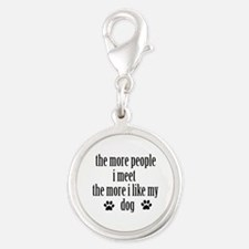 Funny Designs Silver Round Charm