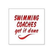 "Swimming Coaches Square Sticker 3"" x 3"""