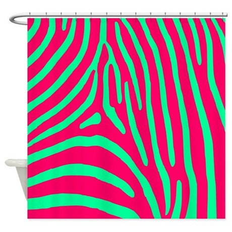 green and pink zebra stripe shower curtain by zebrastuff