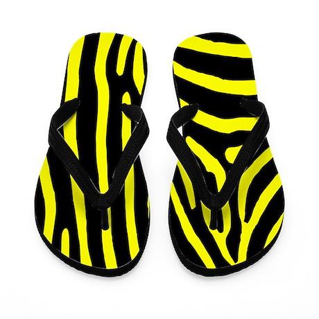 Yellow Black Zebra Stripe Flip Flops
