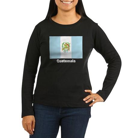 Guatemala Flag (Front) Women's Long Sleeve Dark T-