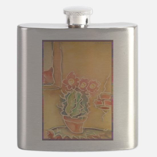 Cactus! Southwest art! Flask