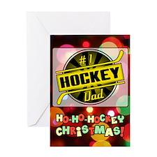 #1 Hockey Dad, Black Gold Christmas Greeting Cards