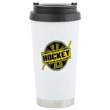 #1 Hockey Dad, Black Gold Travel Mug