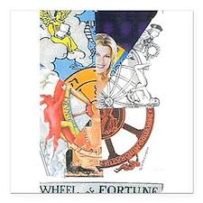 "Wheel of Fortune Tarot Square Car Magnet 3"" x 3"""