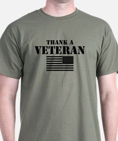 Thank a Veteran black print T-Shirt