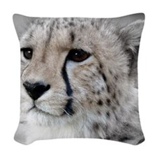 Cheetah Portrait 01 Woven Throw Pillow