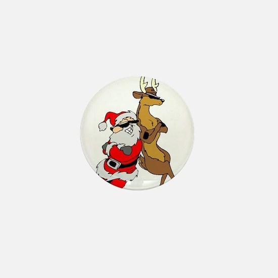 Cool Santa & Reindeer Mini Button
