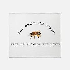 No Bees No Food Throw Blanket