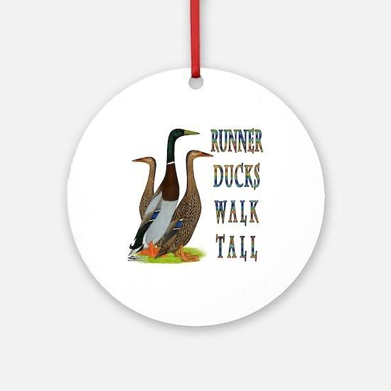 Runner Ducks Walk Tall Ornament (Round)